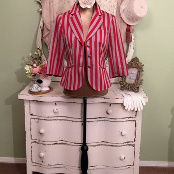Trina Turk, Red n Gray Stripe Jacket, Fit n Flare Jacket, Fun Fashion Coat, Couture Clothing, Vintage Designer, Trina Turk jacket, Small 4