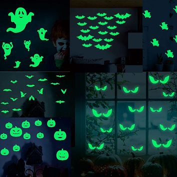 2020 Hot Sale 18Pcs/set Glowing In The Dark Eyes Wall Glass Sticker Halloween Decoration Decals Luminous Home Ornaments- Green