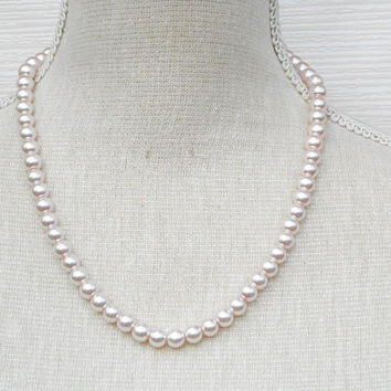 Pink pearl necklace, glass pearl beads, Cheap present, romantic gift for her, girlfriend, valentines ideas, etsy jewelry shop store