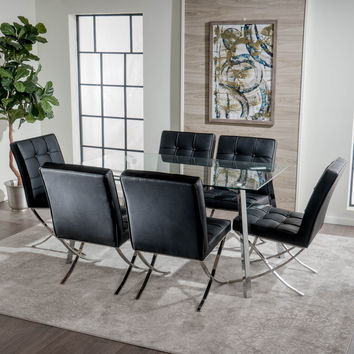 Myrcella 7Pc Glass Table Dining Set w/ Modern Leather Chairs