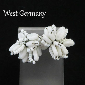 Vintage Milk Glass Earrings | West Germany White Cluster Clip-ons | 1950s White Bead Earrings