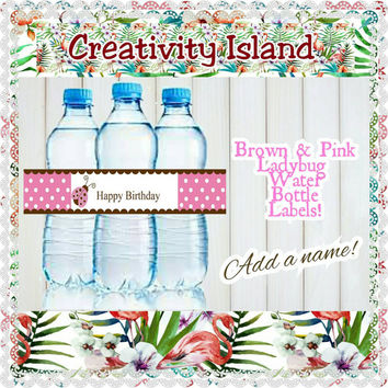 Ladybug Pink and Brown Birthday water bottle labels (digital download)!Personalized, 5 on a sheet!Polkadots, pink, brown, white, ladybug.
