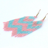 Chevron Earrings. Blue and Pink Earrings. Dangle Long Earrings. Beadwork