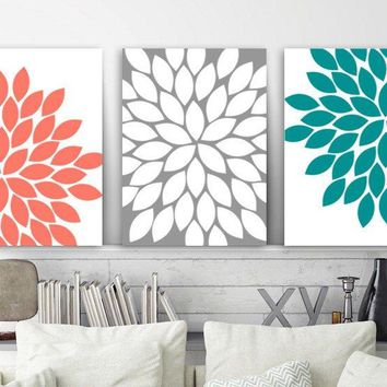 Flower Wall Art, Floral Coral Teal Gray Bedroom Wall Decor, CANVAS or Print Floral Coral Teal Gray Bathroom Decor, Flower Artwork, Set of 3