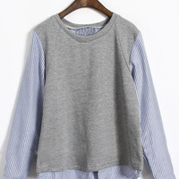 Grey Vertical Stripe Long Sleeve T-Shirt - Sheinside.com