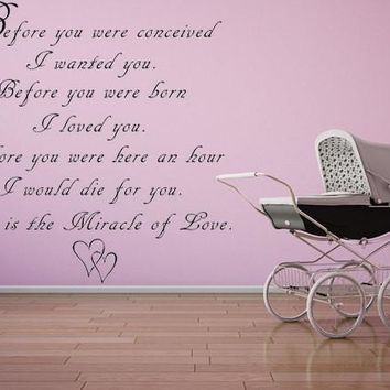 Before You Were Conceived I Wanted You Vinyl Wall Decal Nursery Wall Decal