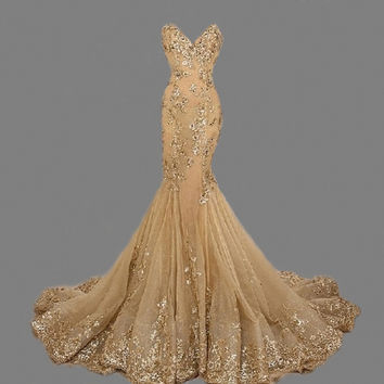 Floor Length Mermaid Gold Prom Dresses