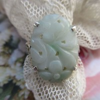 Vintage Sterling Jade Ring