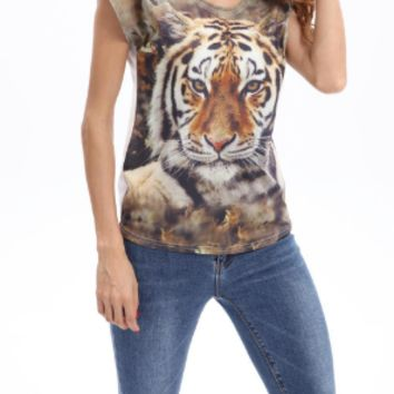 New summer sexy Women printing tiger T-shirt -0523