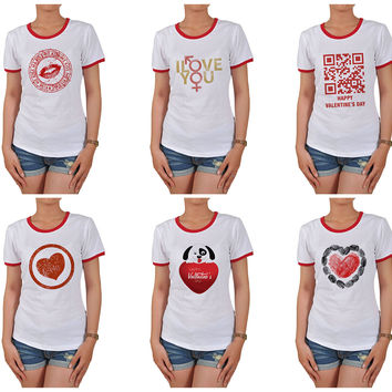 Women Love heart-1 Graphic Printed Short Sleeves T-shirt WTS_06