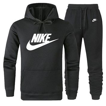 NIKE new tide brand casual men and women models wild sports suit two-piece black