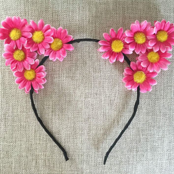 Flower cat ears headband, Floral Cat Ears, Flower Headband, Flower Crown, Flower Halo, Ariana Grande, cat ears, Festival, Rave, EDC, EDM