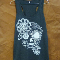 Skull shirt Day of the dead Vintage flower print sleeveless top/ sugar skull tank top/ cute t shirts/ skull print/ gothic clothes size S M L