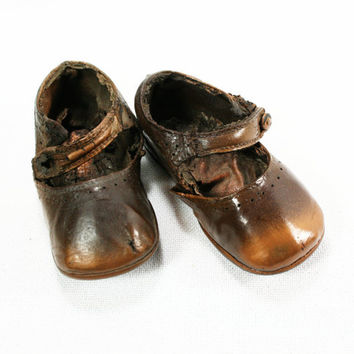 Vintage Primitive Bronze Baby Shoes Etsy Treasury Item