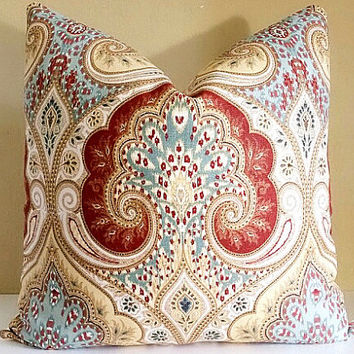 Kravet Ikat Pillow Cover - Rust, Yellow, Light Blue, Gray and light Ivory Linen Pillow cover 18x18,  20x20, 22x22, 24x24, 26x26