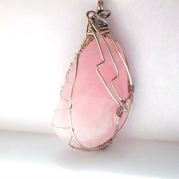 Rose Quartz Pendant w Silver Rose Copper Wire Wrapping, Healing Jewelry, Pagan Jewelry, Energetic Jewelry, Mother of the Bride