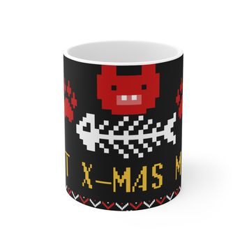 Ceramic Mug For Cat Moms & Dads - X-Mas Ugly Sweater Cat Cup Holiday Gift For Kitty Lovers