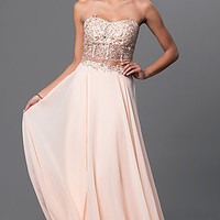 Strapless Two Piece Long Dress