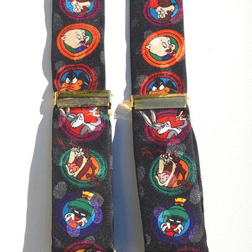 Vintage Suspenders,Collectible Looney Tunes Suspenders,Unusual Braces,Novelty Gift,Bugs Bunny,Porky Pig,Sylveter,Tweety Bird,Clip On Braces