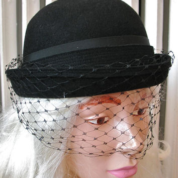 Don Marshall | Vintage 1960s Hat Black Bowler with Removable Black Veil - Wool Velour Felt Back Bow