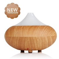 Aromatherapy Essential Oil Diffuser, Ecooltronic 280ml Portable Ultrasonic Cool Mist Wishper Air Humidifier, Waterless Auto Shut-Off for Home Office Baby-Wood Grain