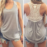 Hollow Lace Patchwork  Sleevelsss Scoop Vest