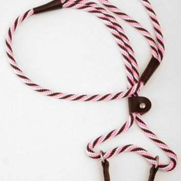 "Mendota Big Dog Walker Lead & Collar 3/8"" x 6' Pink/Brn"