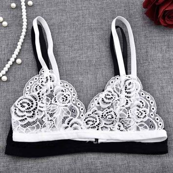 c712ffae0dcee Sexy Lace Bra Floral Wire Bra Bustier Sheer Underwear Wireless B