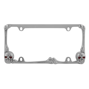 Red LED Skull Lighted Chrome License Plate Frame