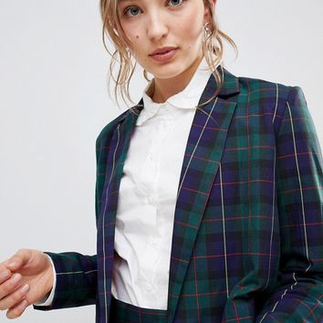 Unique 21 Cropped Blazer In Tartan Co-Ord at asos.com