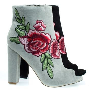 Morris03C Lt-Gray By Wild Diva, Floral Embroidered Stitch On Peep Toe Chunky Block Heel Ankle Bootie