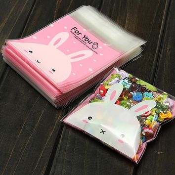 100PCS Packaging Bags Cute Pink Rabbit Gifts Bags Plastic Candy Cookies Wedding Birthday Party Craft Bags Stationery Holder