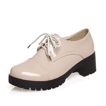 New 2016 autumn spring women shoes British style vintage Bullock shoes women thick heel lace up oxford shoes for women
