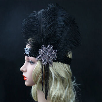 Black Ostrich Rhinestone Feather Headpiece Vintage Party Wedding Headband Flapper 1920s Great Gatsby Hot Hair Band WLL9099