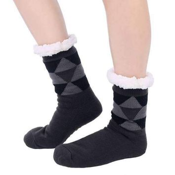 Mad Man Fleece Argyle Cozy Socks
