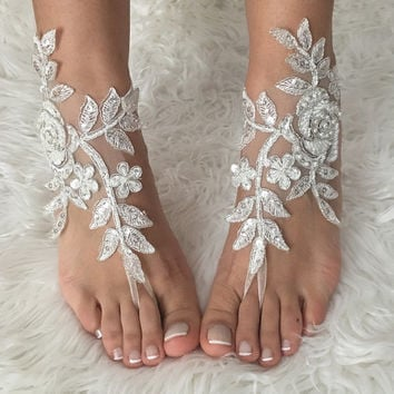 FREE SHIP, ivory Barefoot silver frame , french lace sandals, wedding anklet, Beach wedding barefoot sandals, embroidered sandals.