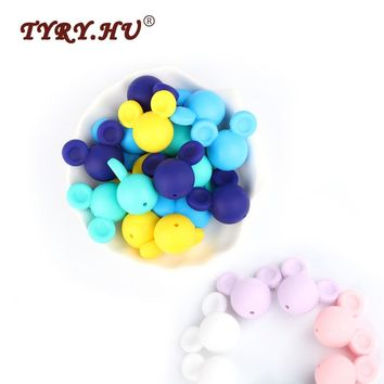 TYRY.HU 10Pcs Mickey Mouse Silicone Beads Baby Teether Oral Care Beads Food Grade Chewable Beads DIY Pacifier Clips Toy BPA Free