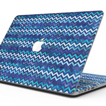 Blue Multi Watercolor Chevron - MacBook Pro with Retina Display Full-Coverage Skin Kit