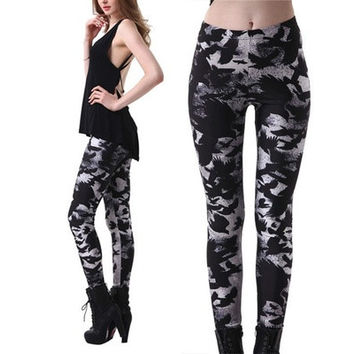 2016 New Autumn Unique Punk Printing Crow Black Sexy Slim Elastic Leggings: S M L XL XXL 3XL 4XL [8833447180]
