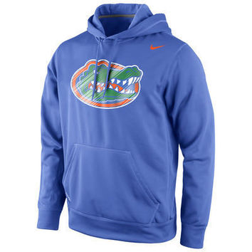 NCAA Florida Gators Kids Nike Warp Logo Therma FIT Hoodie  Royal Blue
