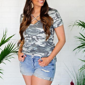* Save The Best For Last Camo Criss Cross Tee : Greys
