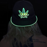 Light Up Marijuana Hat--Burning Man, Festival Clothing, EDM, Halloween Costume, Halloween, Weed Leaf