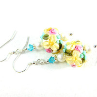 Pastel Floral Earrings, Yellow Pink Blue Earrings, Flower Jewelry, Lampwork Earrings, Nature Earrings, Glass Dangle Earrings - Spring