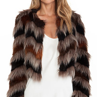 Twelfth Street By Cynthia Vincent Faux Fur Coat in Brown