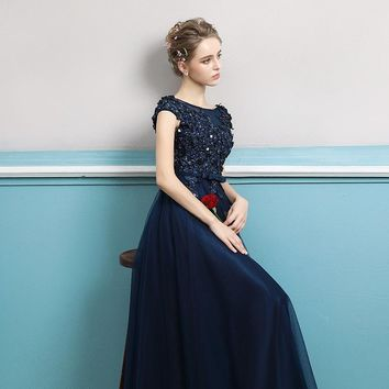 Evening Dress Luxury Appliques Straight Gown Classic Embroidery Bow Formal Party Prom
