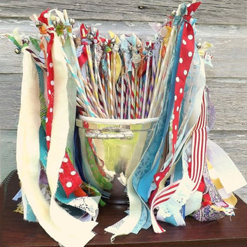 12 Summer Bell Wands, Bright Color Fabric Streamers, Wedding Send Off, Photo Prop, Birthday Party Favors, Eclectic