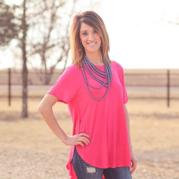 Avery Split Side Top in Hot Pink