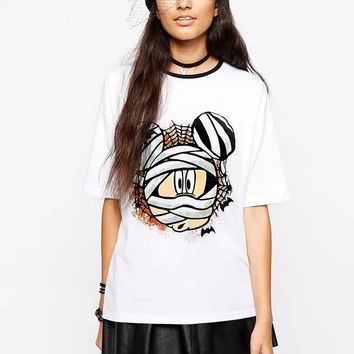 Women's Fashion Cartoons Pattern Short Sleeve T-shirts [6047531393]