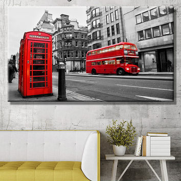 London Red Bus canvas, English Telephone Booth Canvas, Print on canvas, Wall Art Decor, large canvas art, city artwork, town canvas, Canvas
