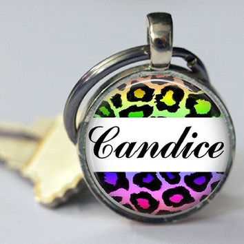 Personalized Zebra Leopard Keychain Pink Purple Multi Colored Zipper Pull Badge Reels Women Men Teen Tween